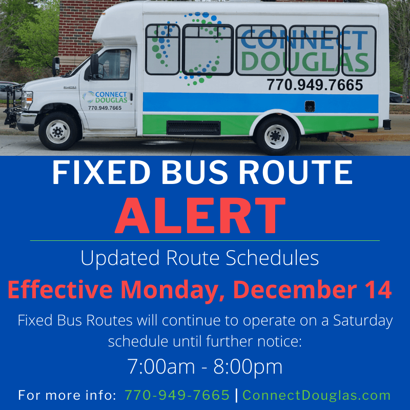 Connect Douglas New Routes Bus Alert (Effective 12/14/2020)