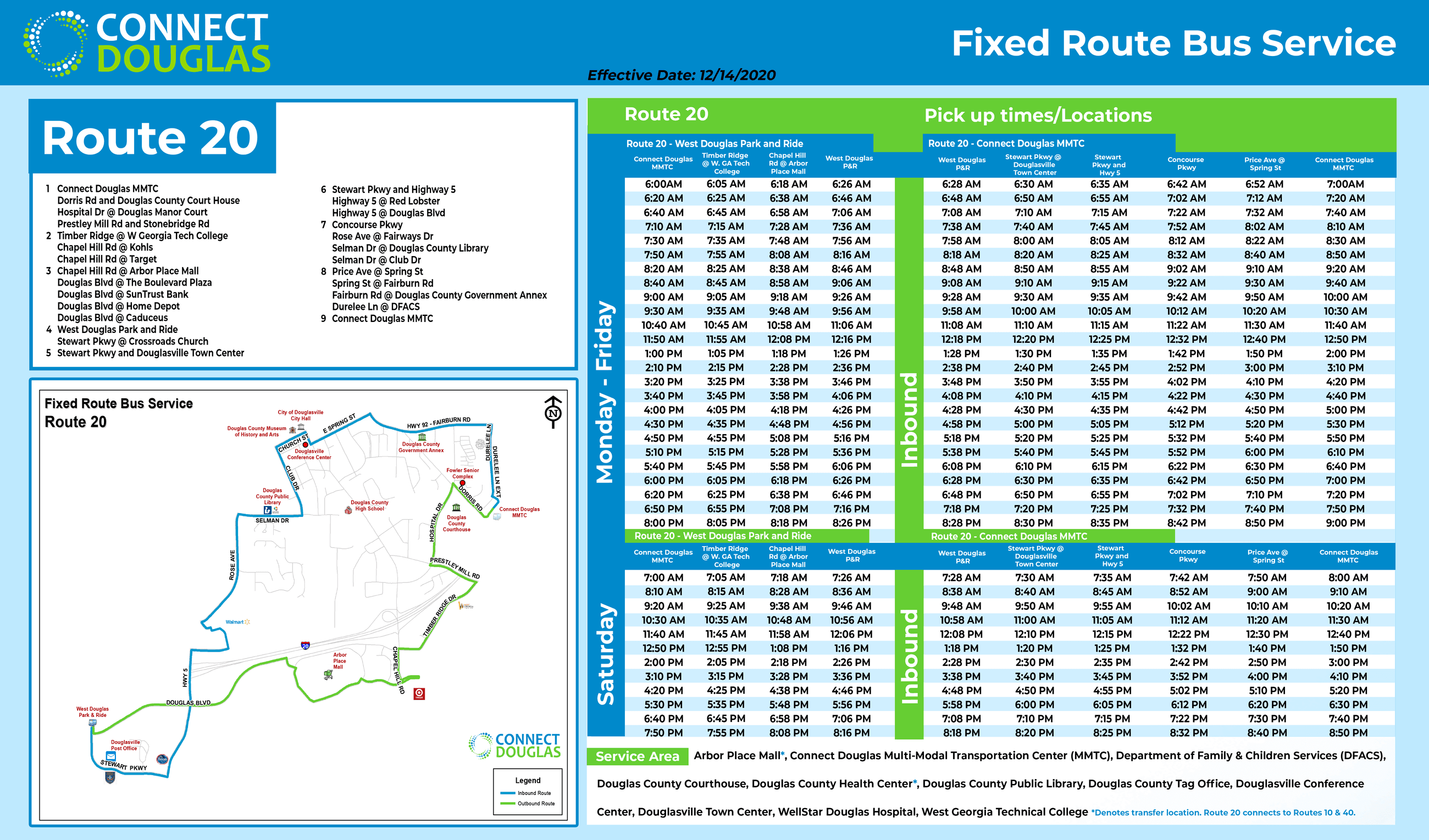 Connect Douglas-Bus Route 20 (Effective 12/14/2020)